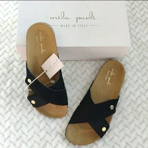 Mila Paoli Made in Italy Suede Slides